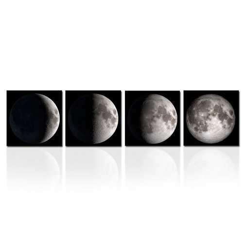 Moon Phases 4-Panel Modern Framed Canvas Print Wall Art