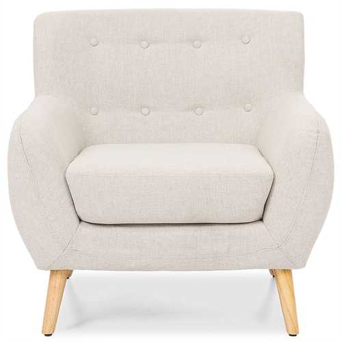 Light Grey Upholstered Tufted Armchair with Mid-Century Style Wood Legs