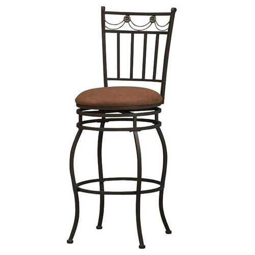24-inch Metal Swivel Bar Stool with Brown Cushion Seat in Bronze