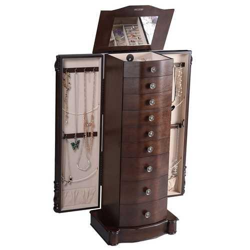 Dark Brown Wood Jewelry Armoire Storage Chest with Mirror