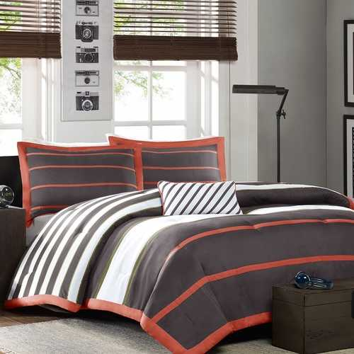Full / Queen Bed Bag Comforter Set in Dark Gray Orange White Stripes
