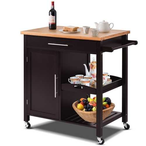 Modern Black Bamboo Kitchen Island Cart with Wood Top