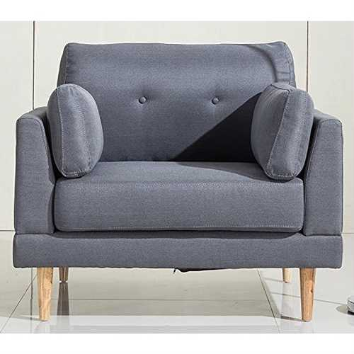 Modern Dark Grey Linen Upholstered Armchair with Mid-Centry Style Wooden Legs