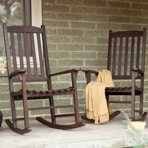Set of 2 - Indoor/Outdoor Patio Porch Dark Brown Slat Rocking Chairs