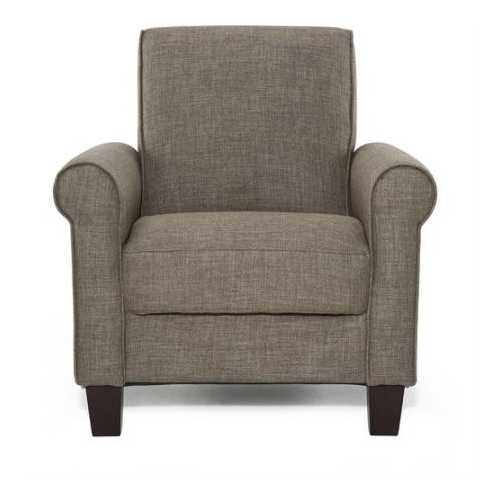 Moss Brown Fabric Upholstered Arm Chair with Wood Legs