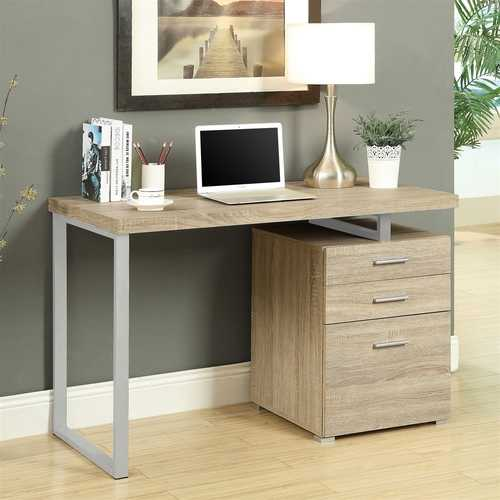 Contemporary Home Office Laptop Computer Desk in Natural Finish