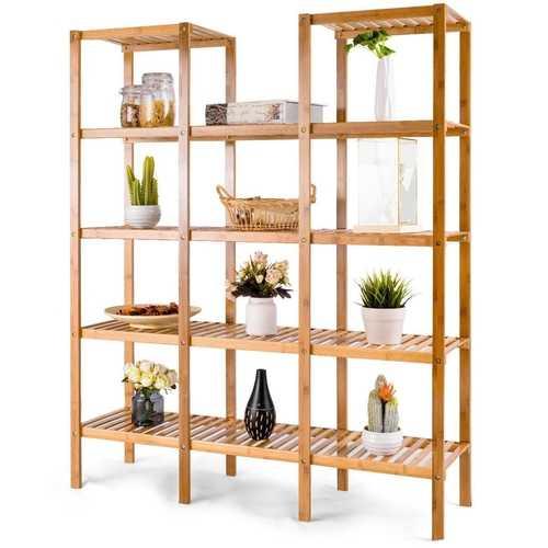 Bamboo Wood 4-Shelf Bookcase Plant Stand Shelving Unit