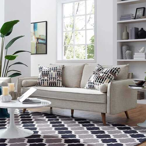 Modern Couch Beige Upholstered Sofa with with Mid-Century Style Wood Legs