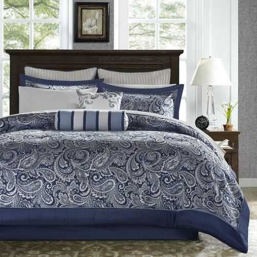 Queen size 12-piece Reversible Cotton Comforter Set in Navy Blue and White