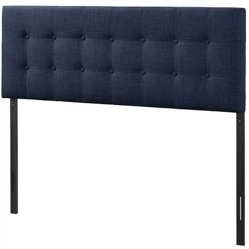 Full size Navy Fabric Modern Upholstered Headboard