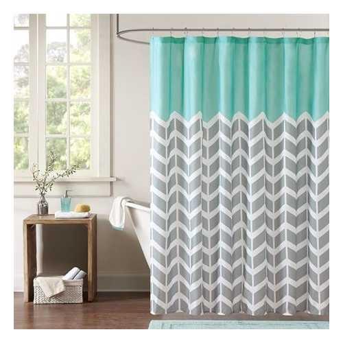 Teal Grey White Zig Zag Chevron Microfiber Shower Curtain