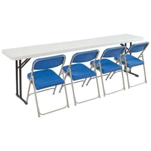 Steel Frame 72-inch Rectangular Gray Plastic Top Folding Table