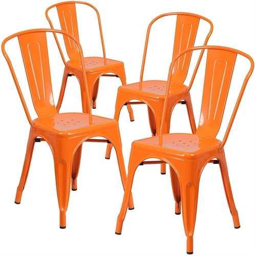 Set of 4 Outdoor Indoor Orange Metal Stacking Bistro Dining Chairs