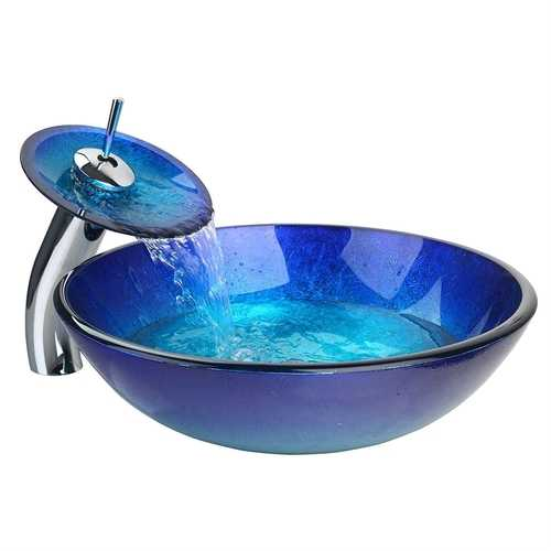 Modern Blue Glass Bathroom Vessel Sink and Faucet with Chrome Drain