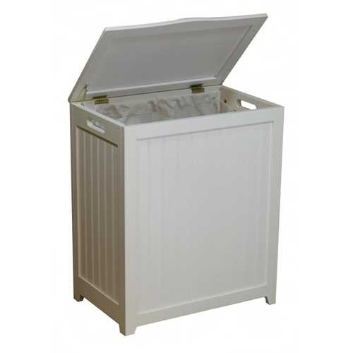 White Solid Wood Rectangular Laundry Hamper