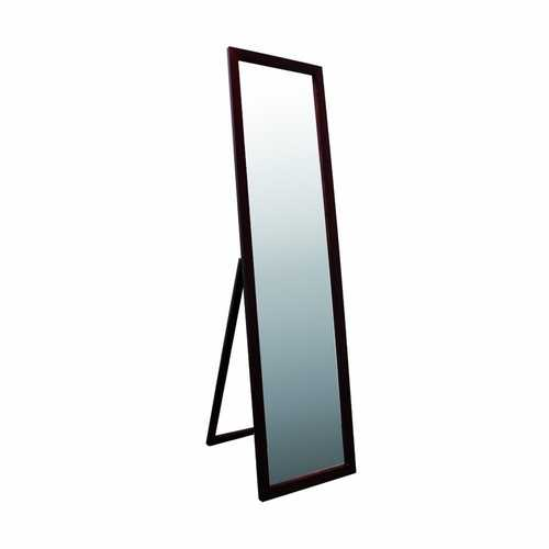 Modern Freestanding Bedroom Floor Mirror in Walnut Finish