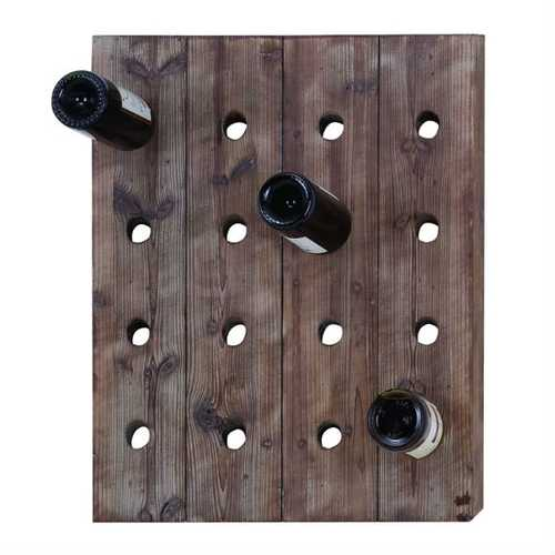 Rustic Wood Wall Hanging 16-Bottle Wine Rack
