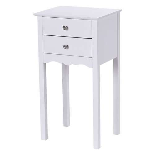 Elegant 2-Drawer End Table Nightstand Side Table in White Wood Finish
