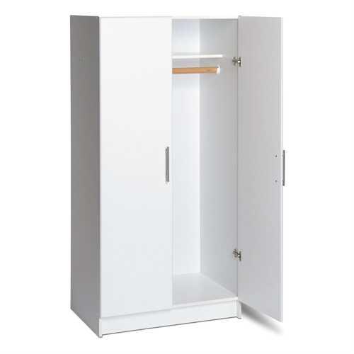 White 2-Door Wardrobe Cabinet with Hanging Rail and Storage Shelf