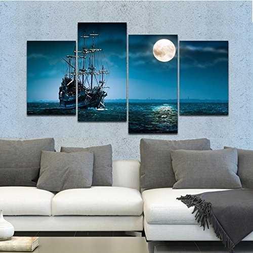 Full Moon Ocean Ship 4-Panel Seascape Framed Canvas Wall Art
