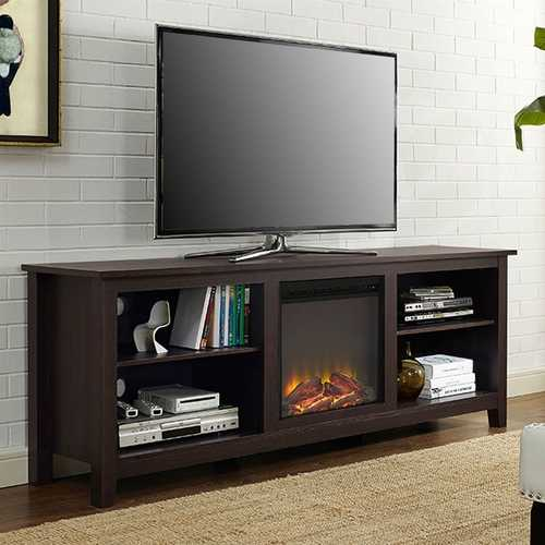 Espresso 70-inch Electric Fireplace TV Stand Space Heater