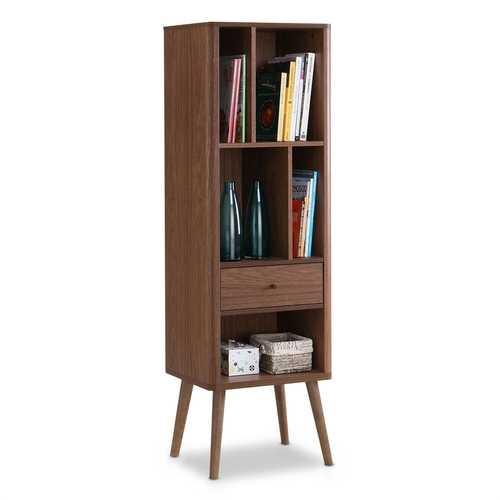 Mid-Century Modern Bookcase Display Shelf in Walnut Wood Finish