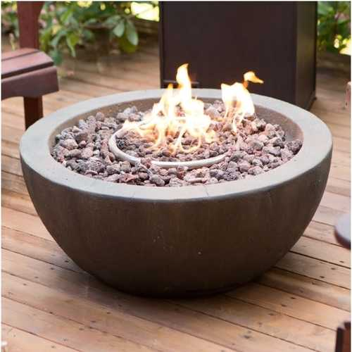 28-inch Round Gray Enviro Stone Fire Pit Bowl with Propane Tank Hideaway Table