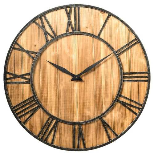 Round 30-inch Roman Numeral Silent Wood Metal Farmhouse Wall Clock