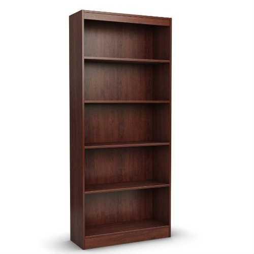 Contemporary 5-Shelf Bookcase Bookshelf in Royal Cherry Wood Finish