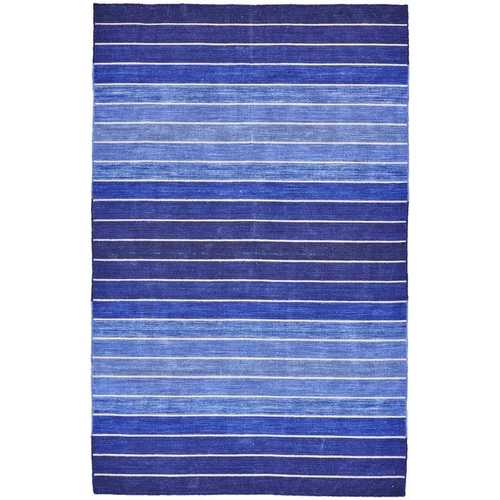 5' X 8' Striped Hand-Tufted Wool/Cotton Blue Area Rug