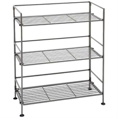 3-Shelf Iron Rectangular Folding Metal Bookcase Storage Shelves
