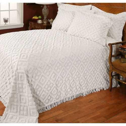 Full size Diamond Pattern Cotton Chenille Bedspread in White