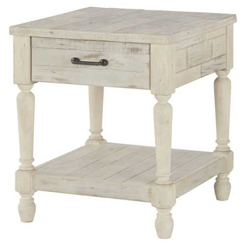 Cottage Style 1-Drawer End Table Nightstand in White Wood Finish