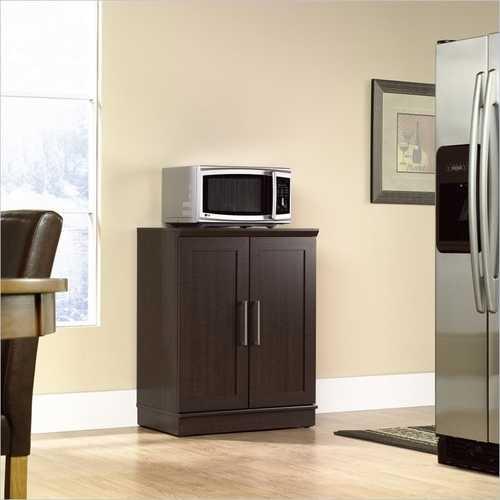 Contemporary Kitchen Storage Microwave Cabinet in Dark Oak