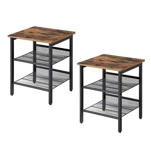 Set of 2 Side Table Nightstand with Medium Wood Finish Top and Mesh Shelves