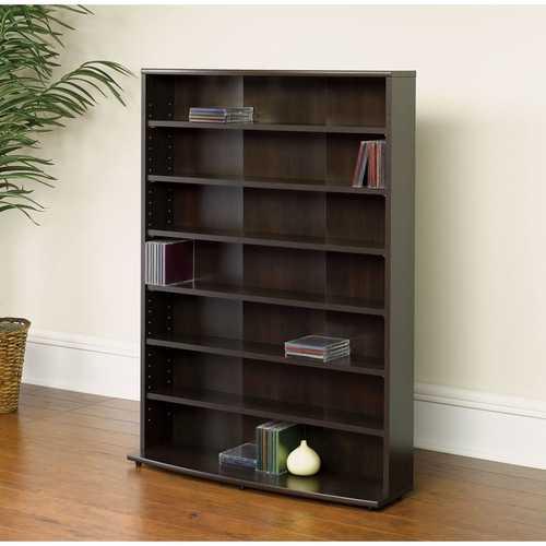 Contemporary 6-Shelf Bookcase Multimedia Storage Rack Tower in Cinnamon Cherry FInish