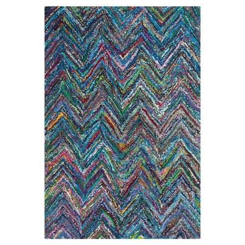 4' x 6' Blue Multi-Color Chevron Cotton Hand Woven Area Rug
