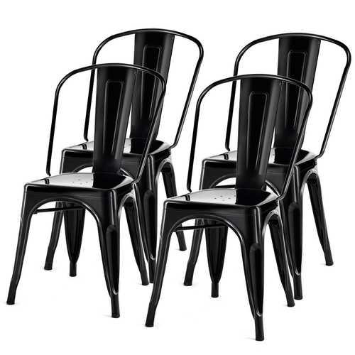 Set of 4 Indoor Outdoor Black Metal Stacking Bistro Dining Chairs