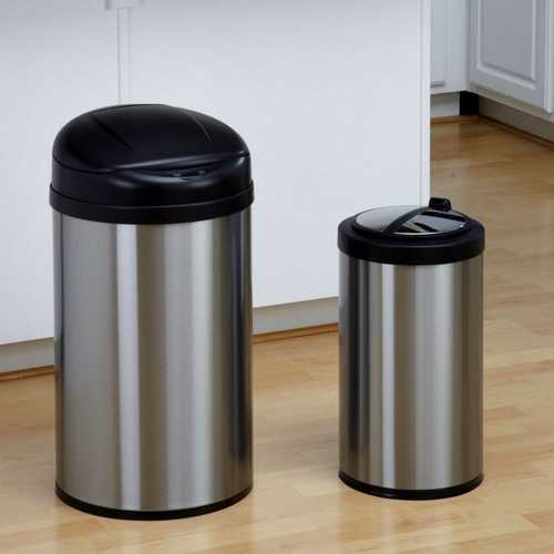 Set of 2 Toucheless Stainless Steel Trash Cans in 3 and 10 Gallon Sizes