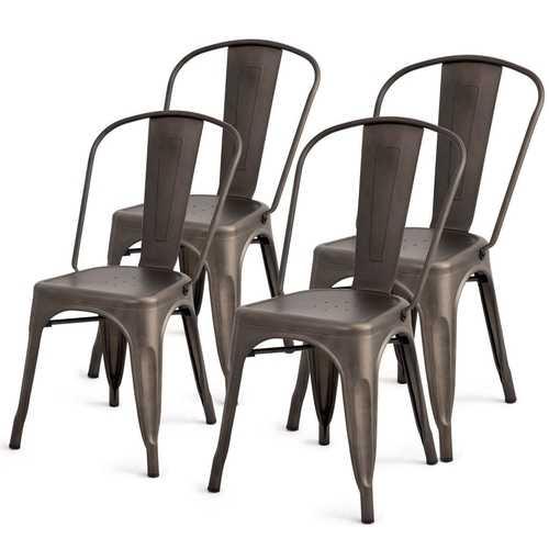 Set of 4 Indoor Outdoor Metal Stackable Bistro Dining Chairs in Copper Finish