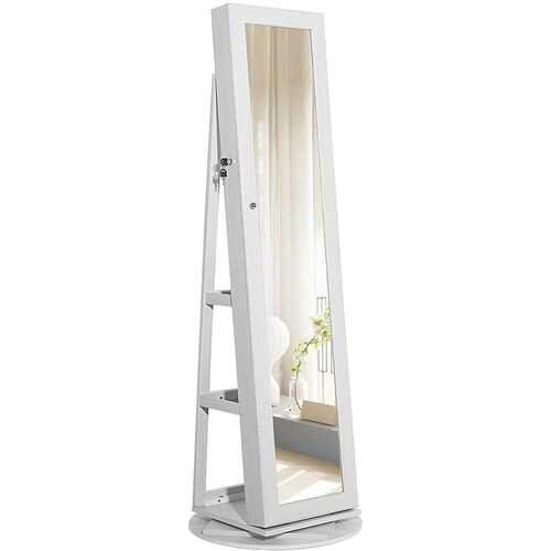 360 Degree Swivel White Wash Full Length Mirror Locking Jewelry Armoire