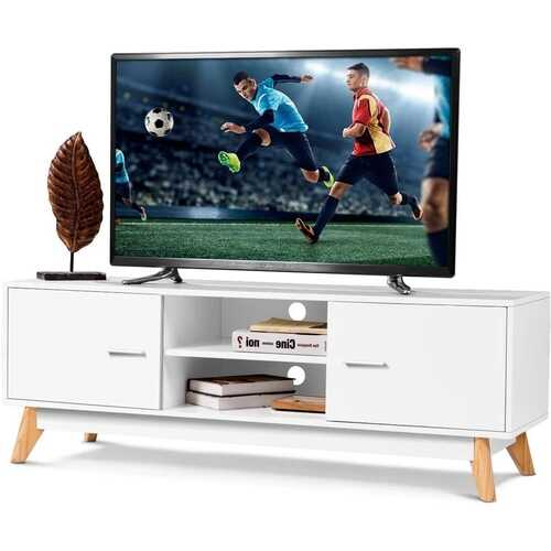 Modern 55-inch Solid Wood TV Stand in White Finish and Mid-Century Legs