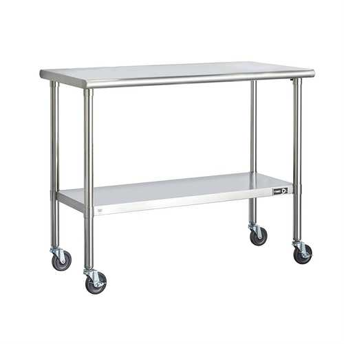 Stainless Steel 2-ft Kitchen Island Cart Prep Table with Casters