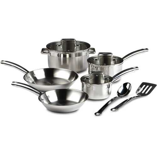 10-Piece Stainless Steel Cookware Set - Dishwasher Safe