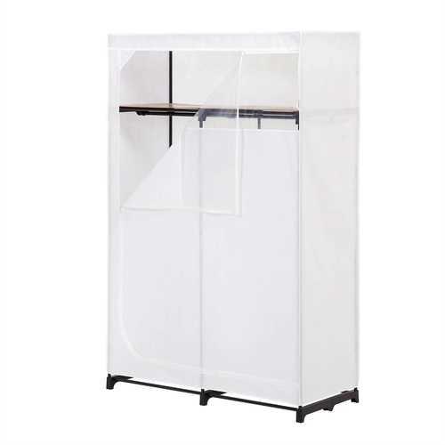 46-inch White Portable Closet Clothes Organizer Wardrobe