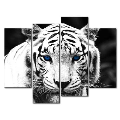 Black and White Tiger 4-Panel Canvas Wall Art Painting Print