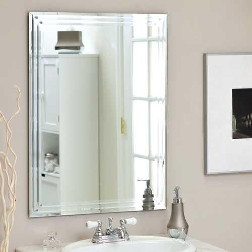 Rectangular 31.5-inch Bathroom Vanity Wall Mirror with Triple-Bevel Design