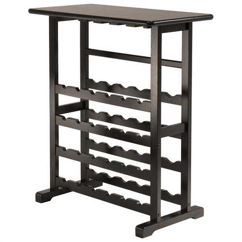 Floor-Standing Dark Espresso Brown 24-Bottle Wine Rack