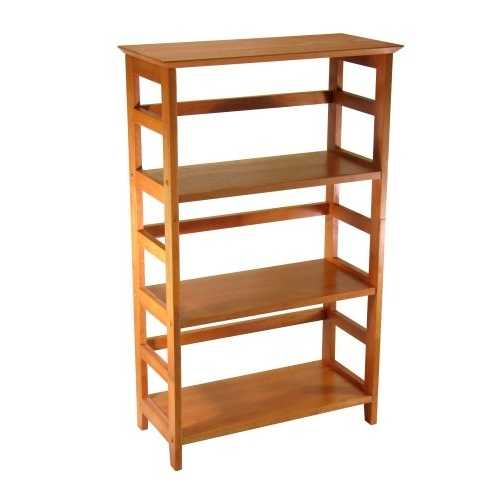 4-Tier Book-shelf Wood Bookcase in Honey Finish