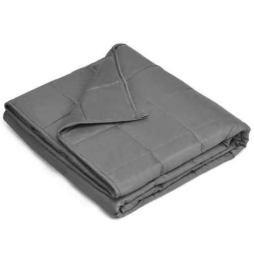 Cotton Weighted Blanket with Glass Beads in Dark Gray 48 x 72 inch